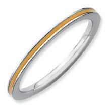 A Must Have Silver Stackable Orange Enamel Ring. Sizes 5-10 Available