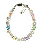 Freshwater Pearl w/Pastel Crystal Sterling Silver Infant Baby Bracelet 0-12 months, freshwater pearls and genuine Swarovski crystals