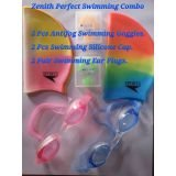 Zenith Welkin Perfect Swimming Combo Of 2 Swimming Caps 2 Swimming Goggles 2 Set Of Ear Plug And Nose Plug