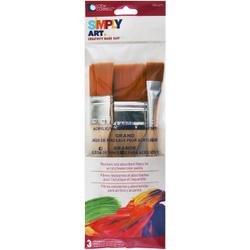 Bulk Buy: Loew-Cornell (3-Pack) Simply Art Large Nylon Flat Brush 3/Set 3/4\', 1\', & 2\' 1024271