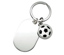 Personalized Mini Soccerball Key Ring with Shiny Silver Plate - Engraved coach and athlete gift idea
