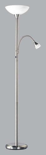 Trio-Leuchten 4311021-07 Fluter, 1xE27, max.200W, dimmb.Lesel. HI50W,GZ10, Nickel matt,Glas opal matt