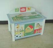 Kids Line Barn Yard Toy Box with Soft Close Lid