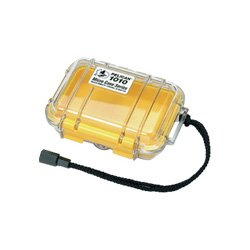 Pelican Yellow 1010 Micro Case with Clear Lid and Carabiner