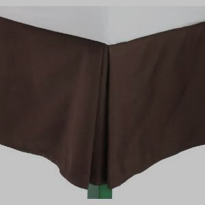 Wrinkle-Free Solid Chocolate Queen Size Pleated Tailored Bed Skirt With 14 Inches Drop- 95 Gsm, 100% Microfiber. front-1086795