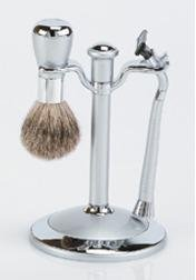 Silver Badger Shaving Brush SET w/ Mach 3 Razor Stand