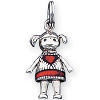 Sterling Silver Oxdz Enameled Red Girl Pendant - JewelryWeb