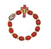 Cherry Wood One Decade Rosary Bracelet with Image of Jesus. Made in Brazil.