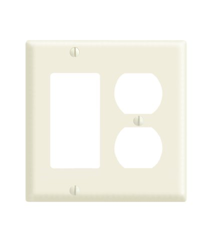 Leviton 80455-A 2-Gang 1-Duplex 1-Decora/GFCI Device Combination Wallplate, Standard Size, Thermoset, Device Mount, Almond