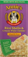 Annie's Homegrown Rice Shells and Creamy White Cheddar Gluten Free -- 6 oz