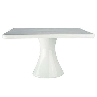 BIA Cordon Bleu 11-Inch by 6-1/4-Inch Porcelain Square Cake Stand, White White Square Cake