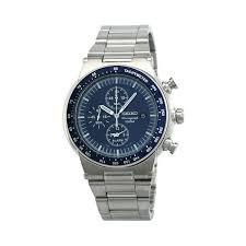 Ref. SNAA43 Reloj Seiko Caballero, cronogafo, correa y caja de acero, sumergible 100 metos, garantia 2 años.
