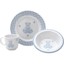 Reed & Barton Gingham Bear 3-Piece Dinnerware Set