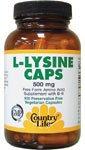 Country Life L-Lysine Caps -- 500 Mg - 100 Vegetarian Capsules