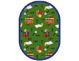 "Joy Carpets Kid Essentials Language & Literacy Oval Spanish Bookworm Rug, Green, 10'9"" x 13'2"""