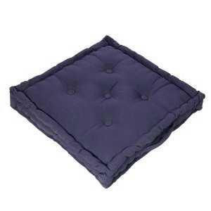 100% Cotton Large Booster Cushion Plain Blue 50x50x10cms, Garden / Indoor Seat Pad