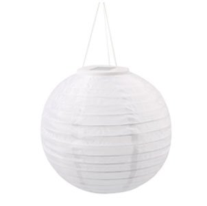 "Candy 12"" White Oriental Style Solar Nylon Rechargable Outdoor Decorative Lantern With 3 Led'S"