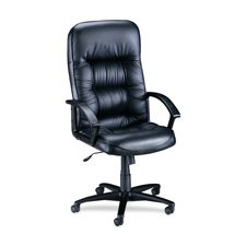 Lorell Hi-Back Executive Chair, 25-3/4 by 29-3/4 by 45-1/2-Inch, Black Leather
