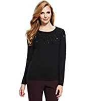 M&S Collection Gem Embellished Swing Jumper with Wool