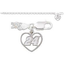 LogoArt Jeff Gordon Sterling Silver 6mm Rollo Bracelet with Heart Charm - Jeff Gordon One Size