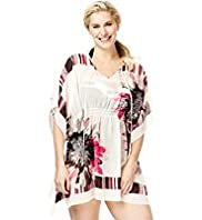 Plus Floral Striped Cover-Up Kaftan