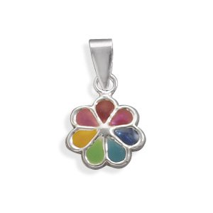 Childs Multicolor Flower Pendant Sterling Silver, Pendant Only