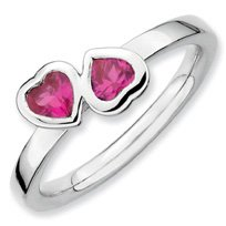 0.62ct Silver Stackable Ruby Double Heart Ring Band. Sizes 5-10 Available