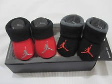 Jumpman Newborn Infant Booties Black and Red