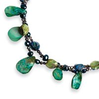 Sterling Silver Pearl Green Dyed MOP Necklace - 18 Inch - Lobster Claw - JewelryWeb