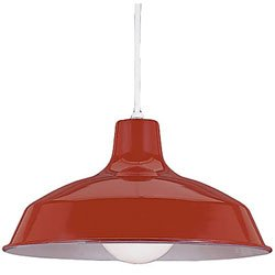 Sea Gull Lighting 6519-21 One-Light Pendant, Red Finish with White Cord