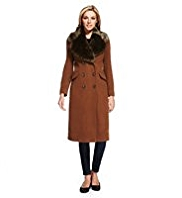 M&S Collection Double Breasted Faux Fur Collar Coat with Cashmere
