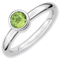 0.57ct Silver Stackable Low 5mm Round Peridot Ring. Sizes 5-10