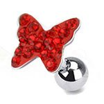 Red Crystal Paved Butterfly Top Cartilage / Tragus Upper Ear Earring Bar