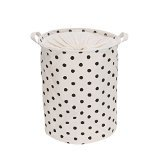 Blu Monaco Foldable Round Laundry Hamper Basket with Handles and Drawstring -Fabric Closet Storage Bag - Polka Dot (Tall Laundry Basket Black compare prices)