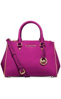 Michael Kors Specchio Sutton Small Satchel Fuschia Leather