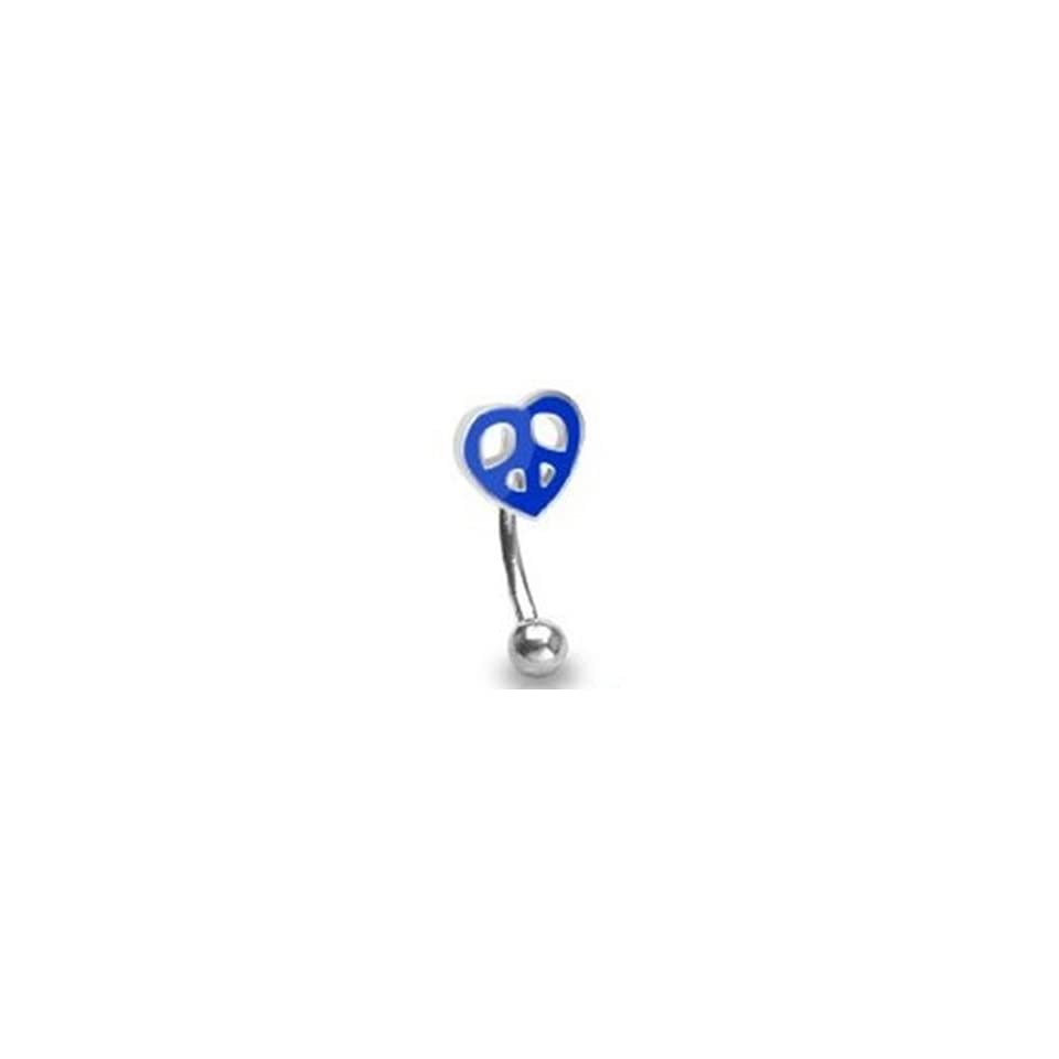 16g Surgical Steel Curved Barbell Eyebrow Ring Body Jewelry Piercing with Blue Peace Sign Heart 16 Gauge 3/8 Nemesis Body JewelryTM