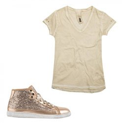 Freddy Sneaker con Rialzo interno di 3cm + T-Shirt in Omaggio (LST45NQMOT) (EU 39, Oro)