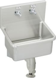 Elkay ESS2118C Utility Sink Lustrous Satin Stainless Steel Wall Mount 2 Hole