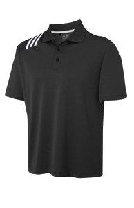 Adidas Golf Mens Climacool 3-Stripe Solid Polo T-shirt - Black-White, Medium