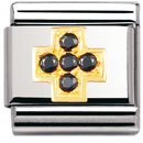 Composable Classic DAILY LIFE in stainless steel , 18k gold and Cubic zirconia (BLACK Cross)