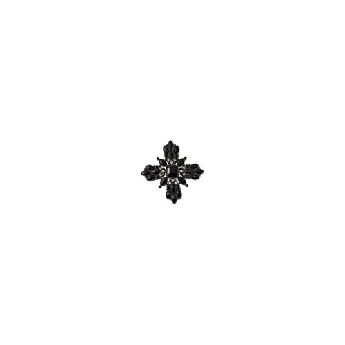 Black-plated Jet & Black Crystal Cross Pin