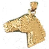 CleverEve 14K Yellow Gold Pendant Horse Head 4.2 Grams