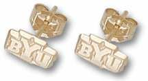 """BYU Cougars 3/16"""" Post Earrings - 10KT Gold Jewelry"""