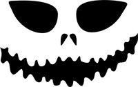 Scary Face Pumpkin Carving Stencil - 18 inch (at longest point) - 60 mil ultraflex ind