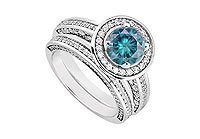 14K White Gold Blue Diamond Engagement Ring with Wedding Band Sets 1.55 CT TDW MADE IN USA