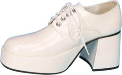 Wmu - Men's Platform Shoes: White Patent- Large
