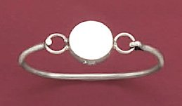 Sterling Silver Bangle, 2mm Child-Size Bracelet, 3/8 inch dia Round Engraveable Plate, 5-1/4 inch