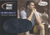Primoz Brezec Indiana Pacers 2000 Sage Authentic Signature Autographed Hand Signed... by Hall+of+Fame+Memorabilia