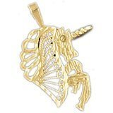 CleverEve 14K Yellow Gold Cut-Out Unicorn Pendant 1.4 Grams