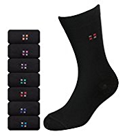 7 Pairs of Cotton Rich Square Print Freshfeet™ Socks with Silver Technology